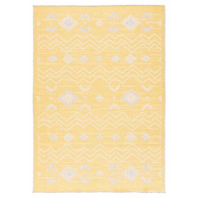 Tseng Reversible Yellow/Gray Indoor/Outdoor Area Rug Rug Size: Rectangle 53 x 76