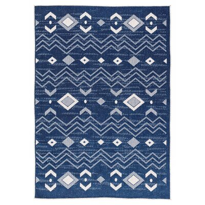 Tseng Reversible Blue Indoor/Outdoor Area Rug Rug Size: Rectangle 53 x 76
