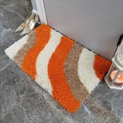 Komar Striped Shag Doormat Color: Brown/Orange
