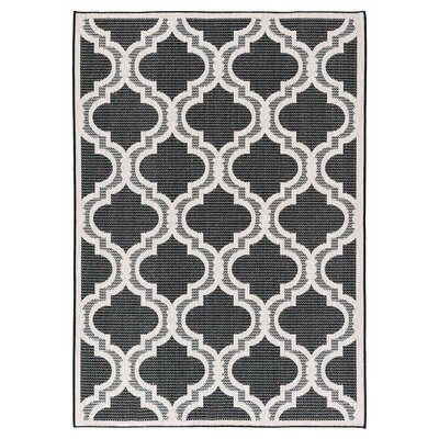 Kinney Reversible Black/Beige Indoor/Outdoor Area Rug Rug Size: Runner 27 x 79
