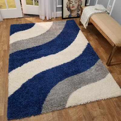 Komar Striped Gray/Blue Area Rug Rug Size: Rectangle 5 x 7