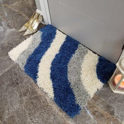 Komar Striped Shag Doormat Color: Gray/Blue