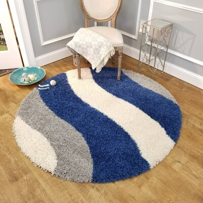 Komar Striped Gray/Blue Area Rug Rug Size: Round 5