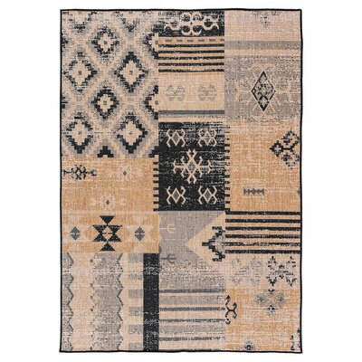 Tseng Reversible Black/Brown Indoor/Outdoor Area Rug Rug Size: Rectangle 53 x 76