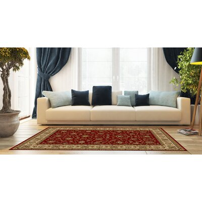 Kinsella Floral Red Area Rug Rug Size: Rectangle 53 x 73