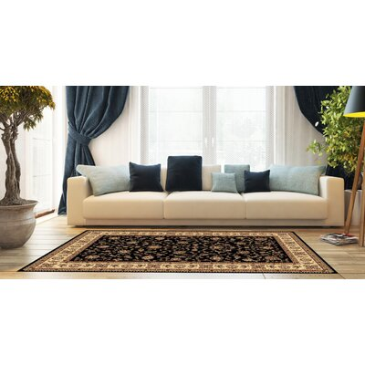 Kinsella Floral Black Area Rug Rug Size: Rectangle 710 x 910