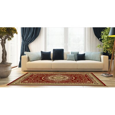 Woodman Medallion Red Area Rug Rug Size: Rectangle 53 x 73