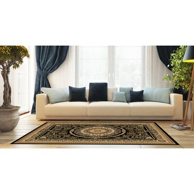 Woodman Medallion Black Area Rug Rug Size: Rectangle 710 x 910