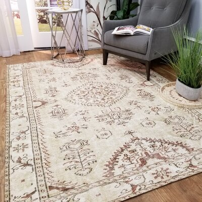 Wooldridge Hidden Treasure Beige Area Rug Rug Size: Rectangle 53 x 77