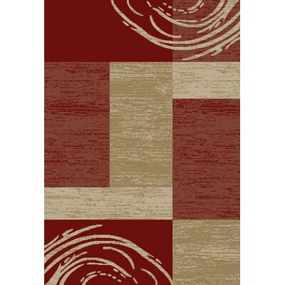 Hinson Boxes Red Area Rug Rug Size: Rectangle 53 x 611