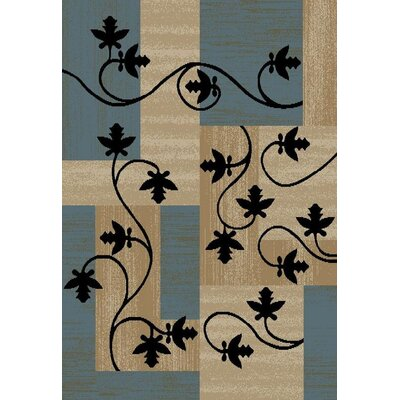 Hinson Leaf Boxes Blue/Light Brown Area Rug Rug Size: Rectangle 710 x 10