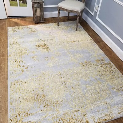 Wintergreen Silky Treasure Gold Area Rug Rug Size: Rectangle 33 x 5