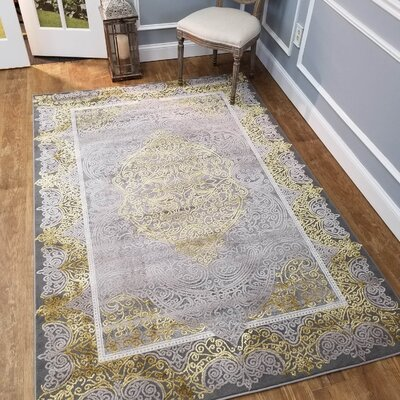Wintergreen Silky Palace Gold/Silver Area Rug Rug Size: Rectangle 82 x 910