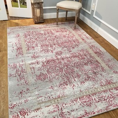 Wintergreen Silky Rose Sultan Red/Silver Area Rug Rug Size: Rectangle 53 x 77