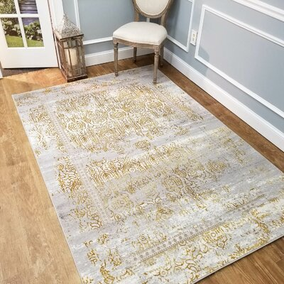 Wintergreen Silky Sultan Gold/Silver Area Rug Rug Size: Rectangle 53 x 77