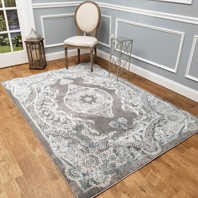 Wintergreen Silky Saphire Kingdom Gray/White Area Rug Rug Size: Rectangle 53 x 77