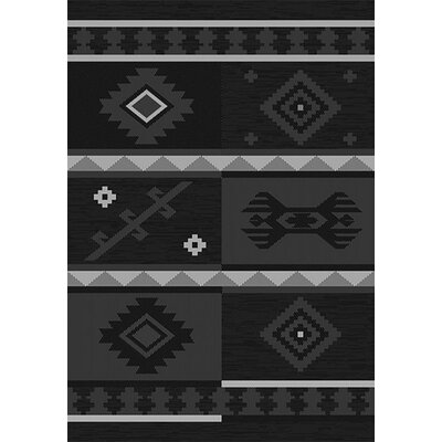 Tubbs Black Indoor/Outdoor Area Rug Rug Size: Rectangle 53 x 76