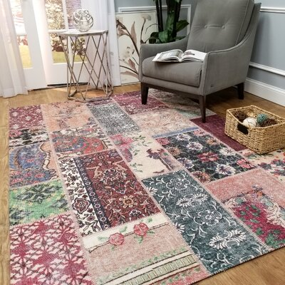 Hinkson Floral Patch Pink/Red Area Rug Rug Size: Rectangle 27 x 411