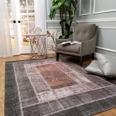 Hinkson Apex Borders Pink/Gray Area Rug Rug Size: Rectangle 27 x 411
