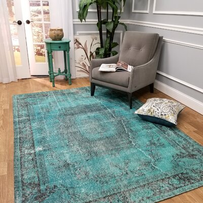 Wooldridge Teal of Palace Blue Area Rug Rug Size: Rectangle 53 x 77