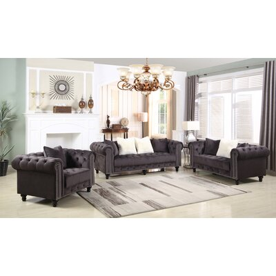Leyton Upholstered 3 Piece Living Room Set
