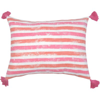 Painterly Stripe Lumbar Pillow Color: Hibiscus