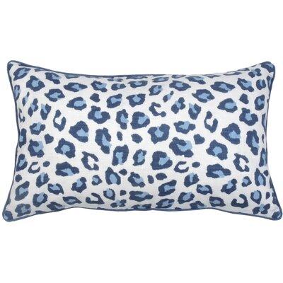 Leopard Lumbar Pillow Color: Cobalt
