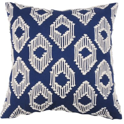 String Ikat Cotton Throw Pillow Color: Cobalt