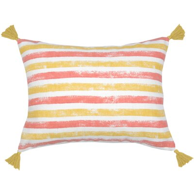 Painterly Stripe Lumbar Pillow Color: Citron