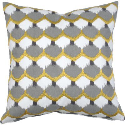 Dot Ikat Cotton Throw Pillow Color: Citron