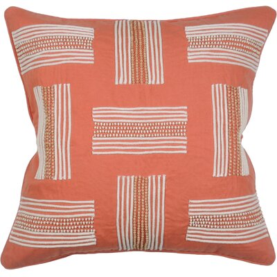 Clearwater Stripe Cotton Throw Pillow Color: Papaya