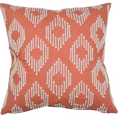 String Ikat Cotton Throw Pillow Color: Papaya