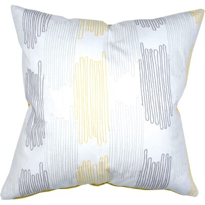 Scribble Check Cotton Throw Pillow Color: Citron