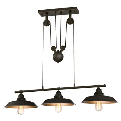 Alayna 3-Light Kitchen Island Pendant Finish: Oil Rubbed Bronze, Size: 32 H x 40 W x 12 D, Bulb Type: LED