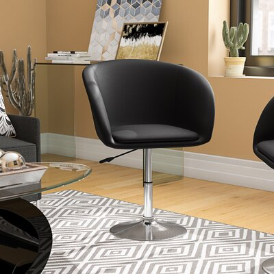 Mcphee Adjustable Swivel Barrel Chair Upholstery: Black