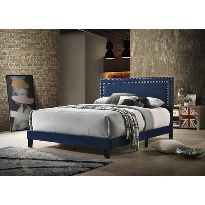 Mccants Upholstered Panel Bed Color: Navy Blue, Size: Queen