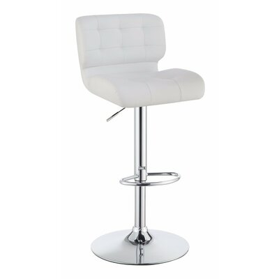 Worton Metal Adjustable Height Swivel Bar Stool Color: White