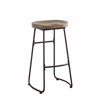 Mariposa Antique Wood and Metal 30 Bar Stool