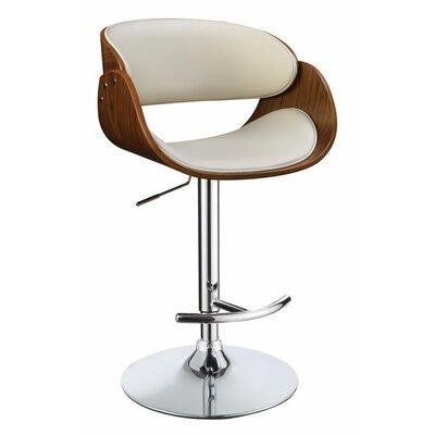 Hunsinger Adjustable Height Swivel Bar Stool Color: White