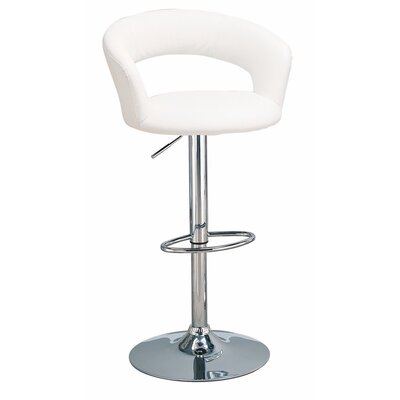 Woolford Faux Leather Adjustable Height Swivel Bar Stool Color: White