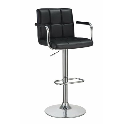 Wootton Grid Adjustable Height Swivel Bar Stool Color: Black