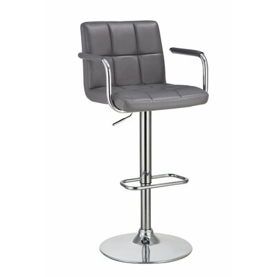 Wootton Grid Adjustable Height Swivel Bar Stool Color: Gray