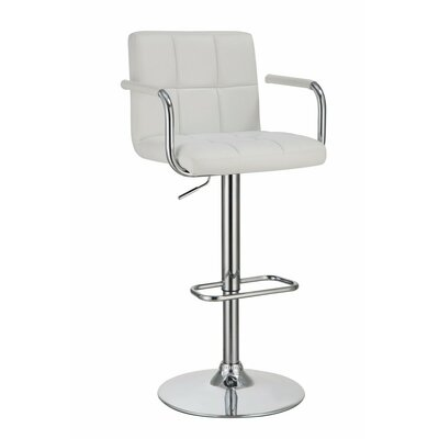 Workman Grid Adjustable Height Swivel Bar Stool Color: White