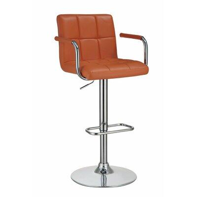 Wootton Grid Adjustable Height Swivel Bar Stool Color: Orange