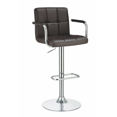 Workman Grid Adjustable Height Swivel Bar Stool Color: Brown