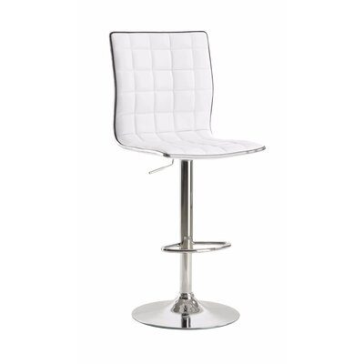 Worle Waffle Adjustable Height Swivel Bar Stool Color: White