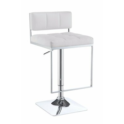 Worsley Adjustable Height Swivel Bar Stool Color: White