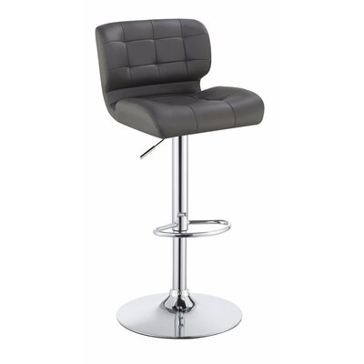 Worton Metal Adjustable Height Swivel Bar Stool Color: Gray