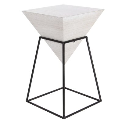 Perryville Pyramid End Table Color: White