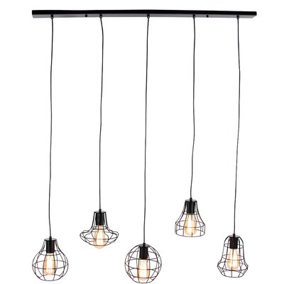 Hocker 5 Light Kitchen Island Pendant Shade Color: Black